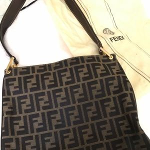 Authentic Fendi Canvas Shoulder Bag.
